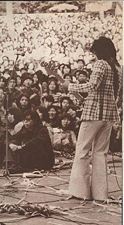 Vodka Collins' 17 year old bass player and founding band member, Take Yokouchi at Hibiya Park Tokyo live outdoor show 1973