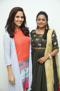 Actress Suma in Black Salwar Suit and Anusuya in orange Dress at winner movie press meet part 1 February 2017 (17).JPG