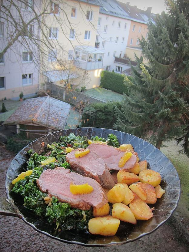 Schnelles Essen Heiligabend genussbereit: heiligabend-essen: entenbrust auf orangen-grünkohl