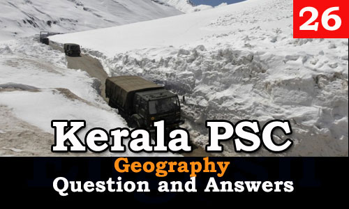 Kerala PSC Geography Question and Answers - 26