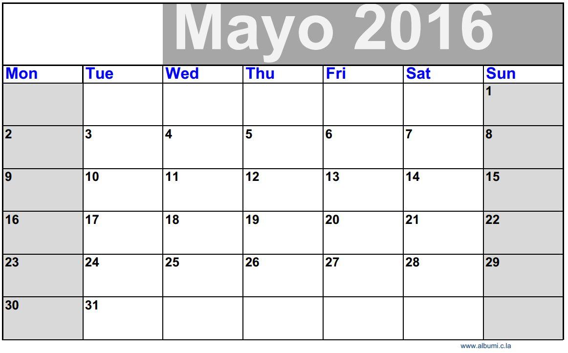 Calendario En Blanco.Calendario Blanco Mayo 2016 Para Imprimir Gratis 2016 Blank