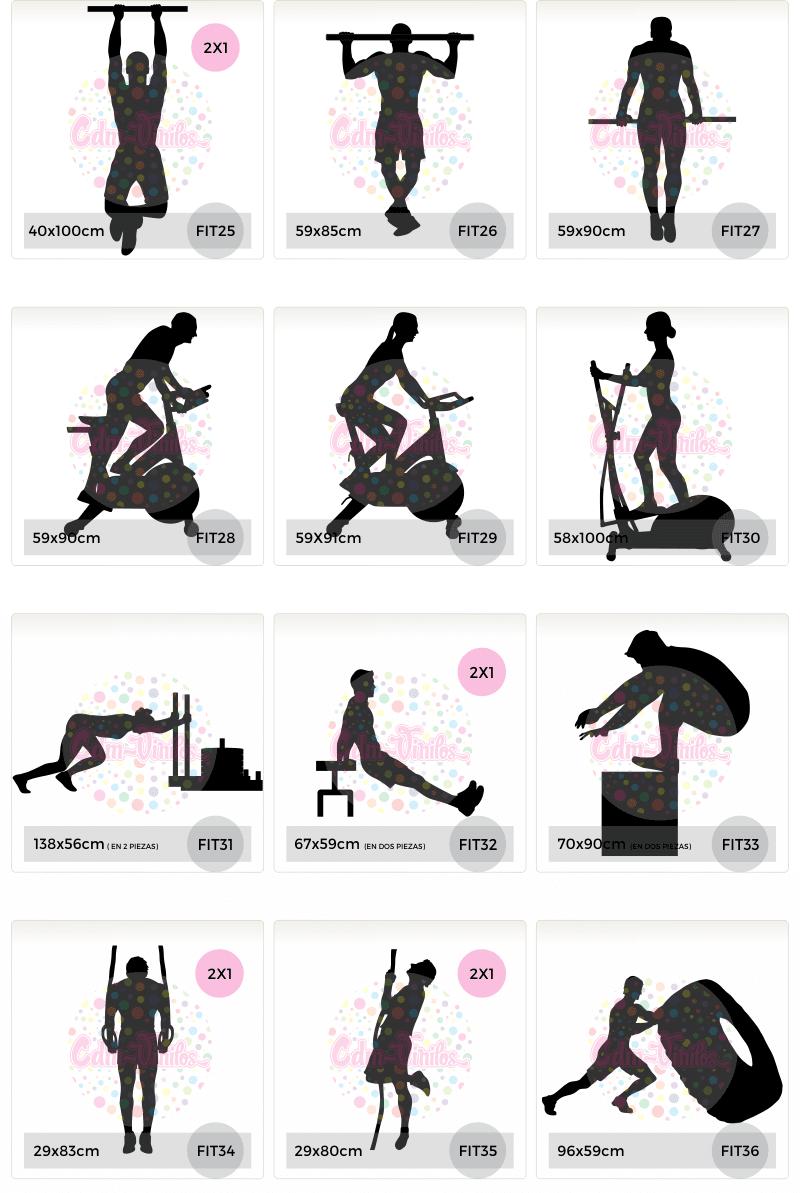 vinilos decorativos siluetas fitness gimnasio gente corriendo ejercitando crossfit