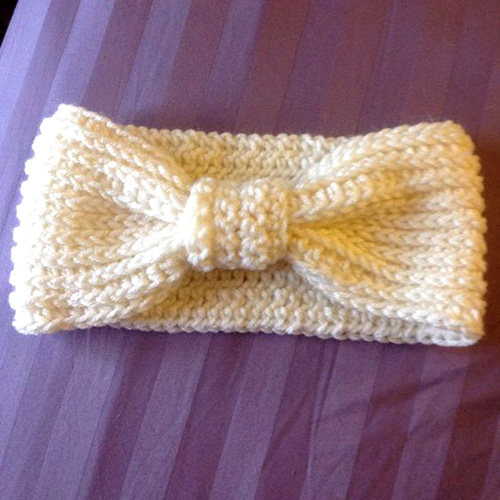 Ribbed Bow Ear Warmer - Free Pattern