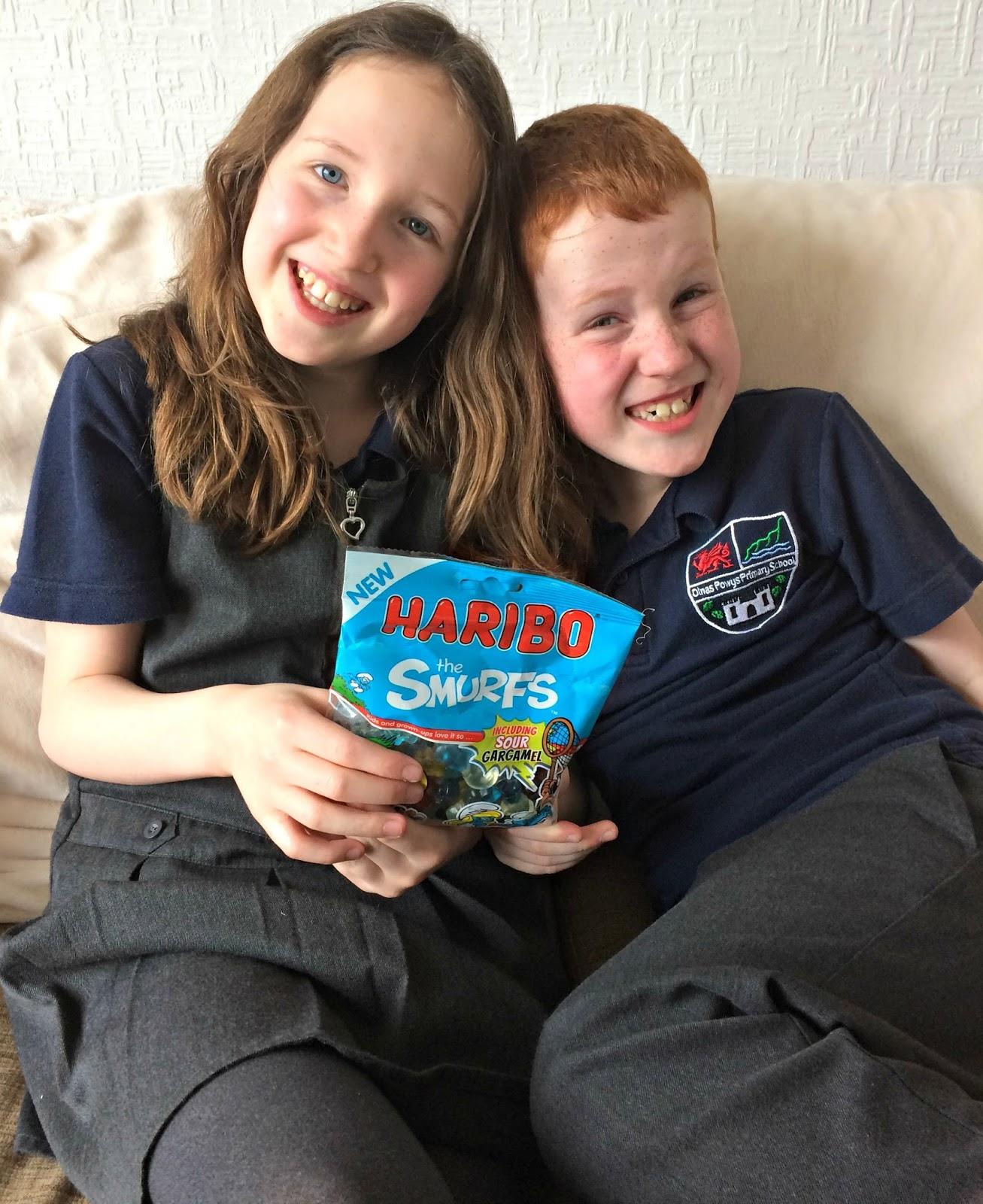 Caitlin & Ieuan with HARIBO Smurfs