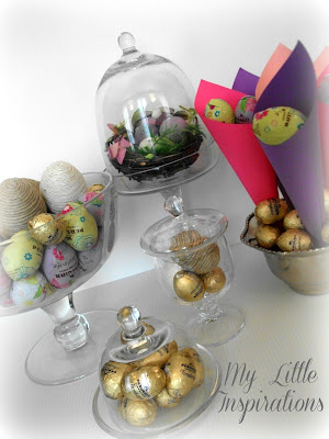 Chocolate eggs cloches and nest