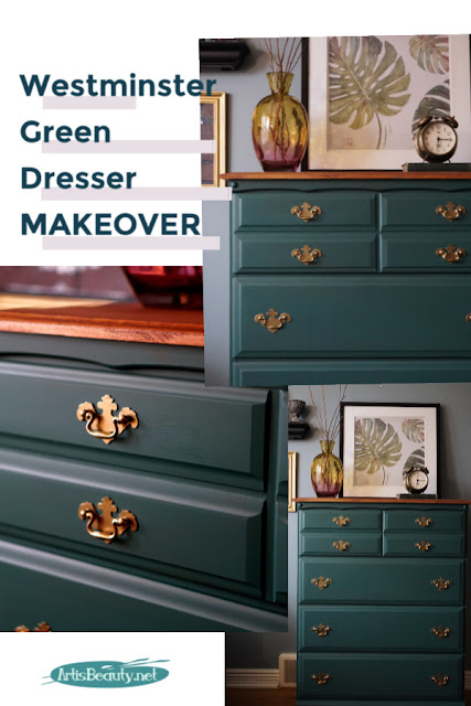 Outdated dresser given a beautiful makeover using westminster green general finishes milk paint dresser makeover