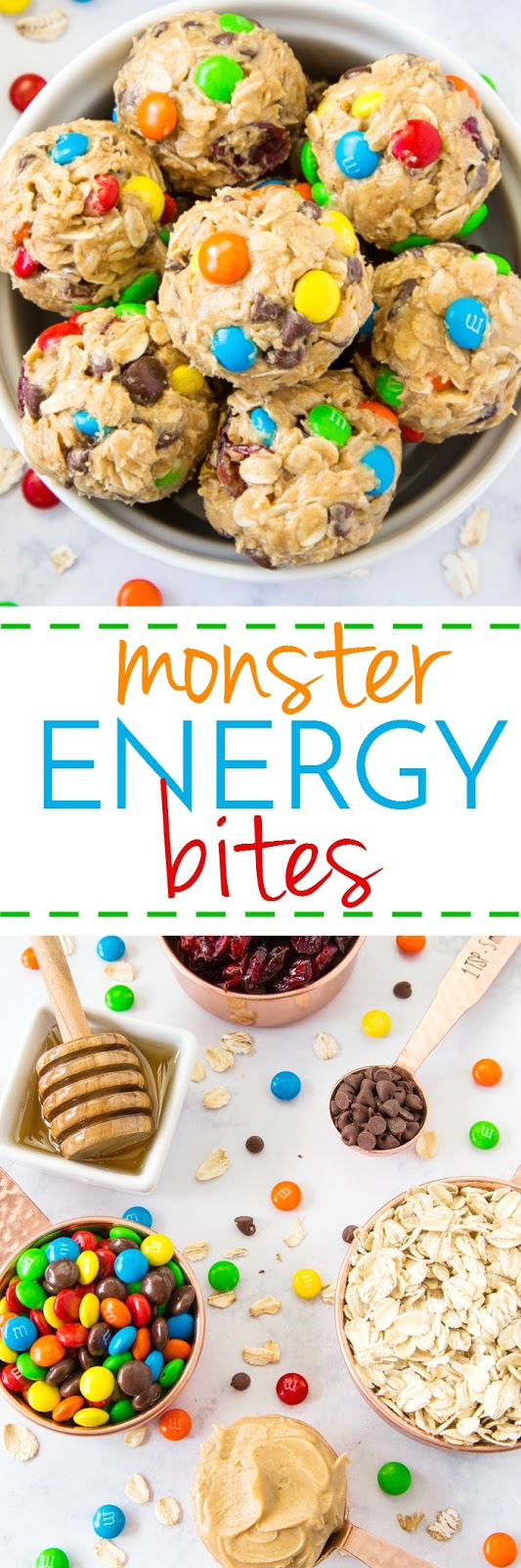 Monster Energy Bites are the best snack when hungry hits!  Loaded with yummy flavors and no-bake!