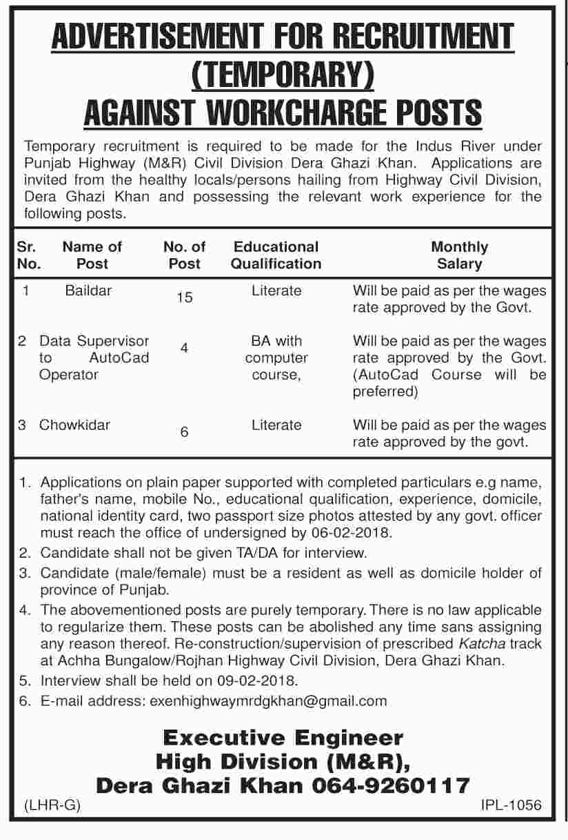 Jobs In Punjab Highway Civil Division Dera Ghazi Khan January 2018