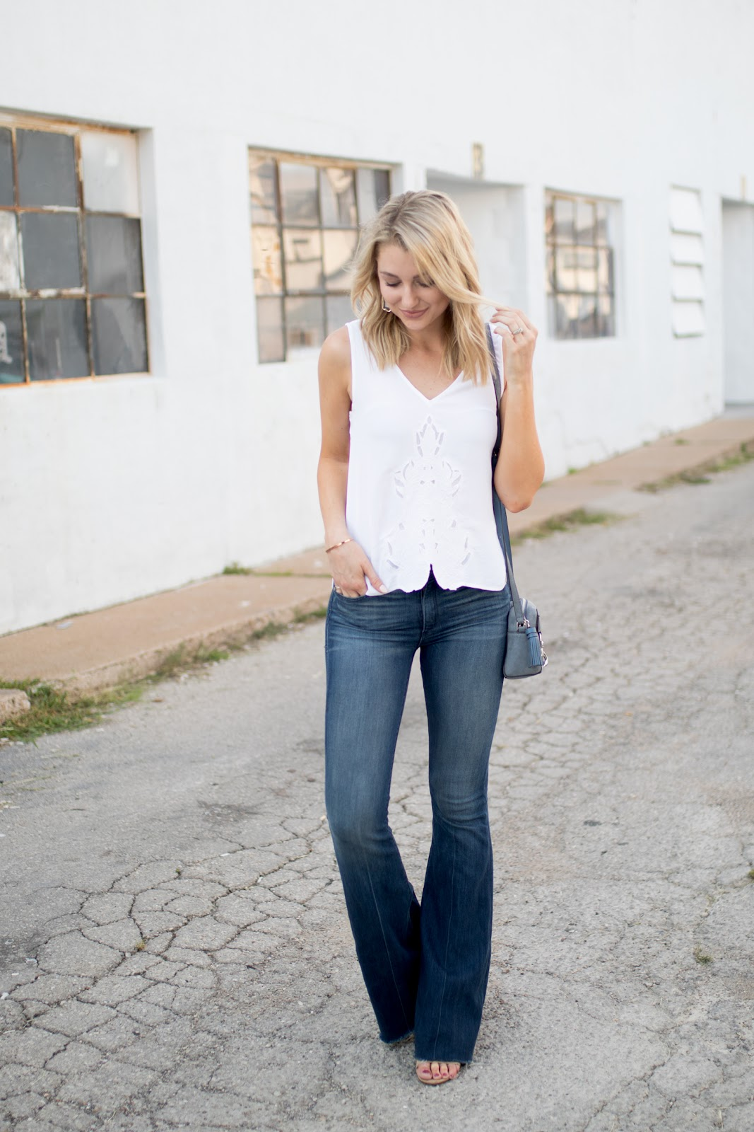 Flare jeans with a cute tank top