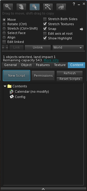 Edit Object: Content Tab