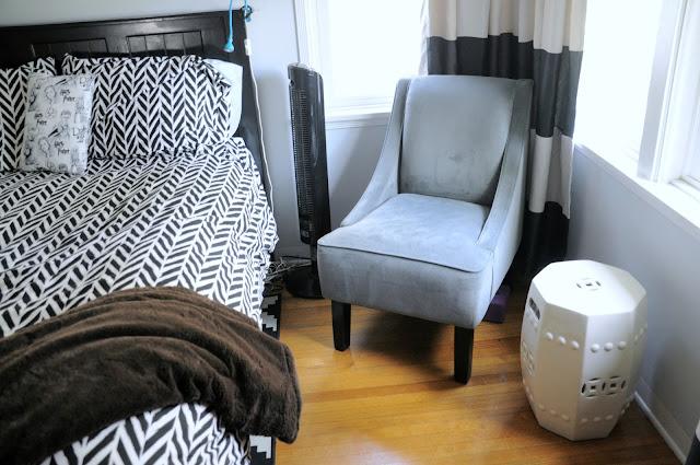 Teenaged Girl's Room black and white duvet cover