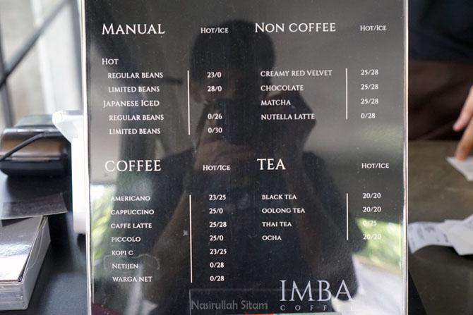 Daftar Menu dan Harga di Imba Coffee Jogja