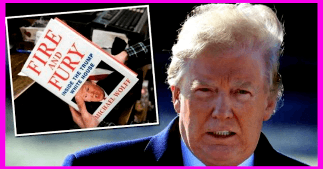 "Donald Trump's bad hair day and the book cover of ""Fire and Fury - Inside the Trump White House"" by Michael Wolff"