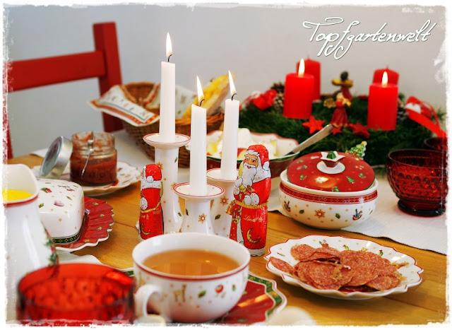Gartenblog Topfgartenwelt Frühstückstisch: mit Villeroy-Boch Weihnachtsgeschirr