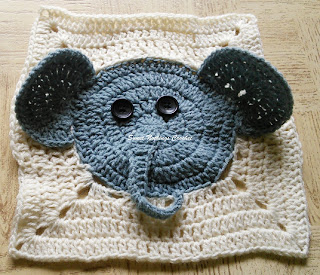 free crochet pattern, free crochet granny square pattern, free crochet elephant granny square pattern, free crochet elephant motif, free crochet 3D elephant square, free crochet mitered square pattern, donation ideas, Project Chemo Crochet, cancer donation ideas, Pradhan Stores, Oswal Cashmilon,