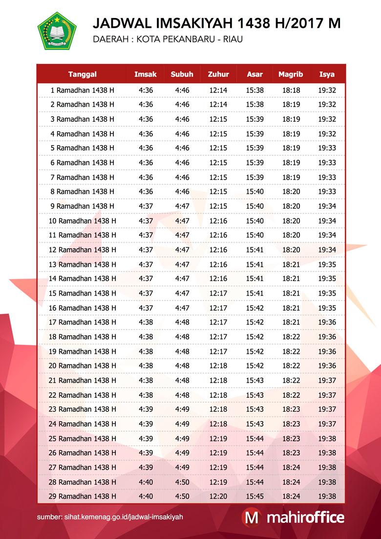 jadwal imsakiyah ramadhan 2017/1438 Hijriyah Wilayah Pekanbaru