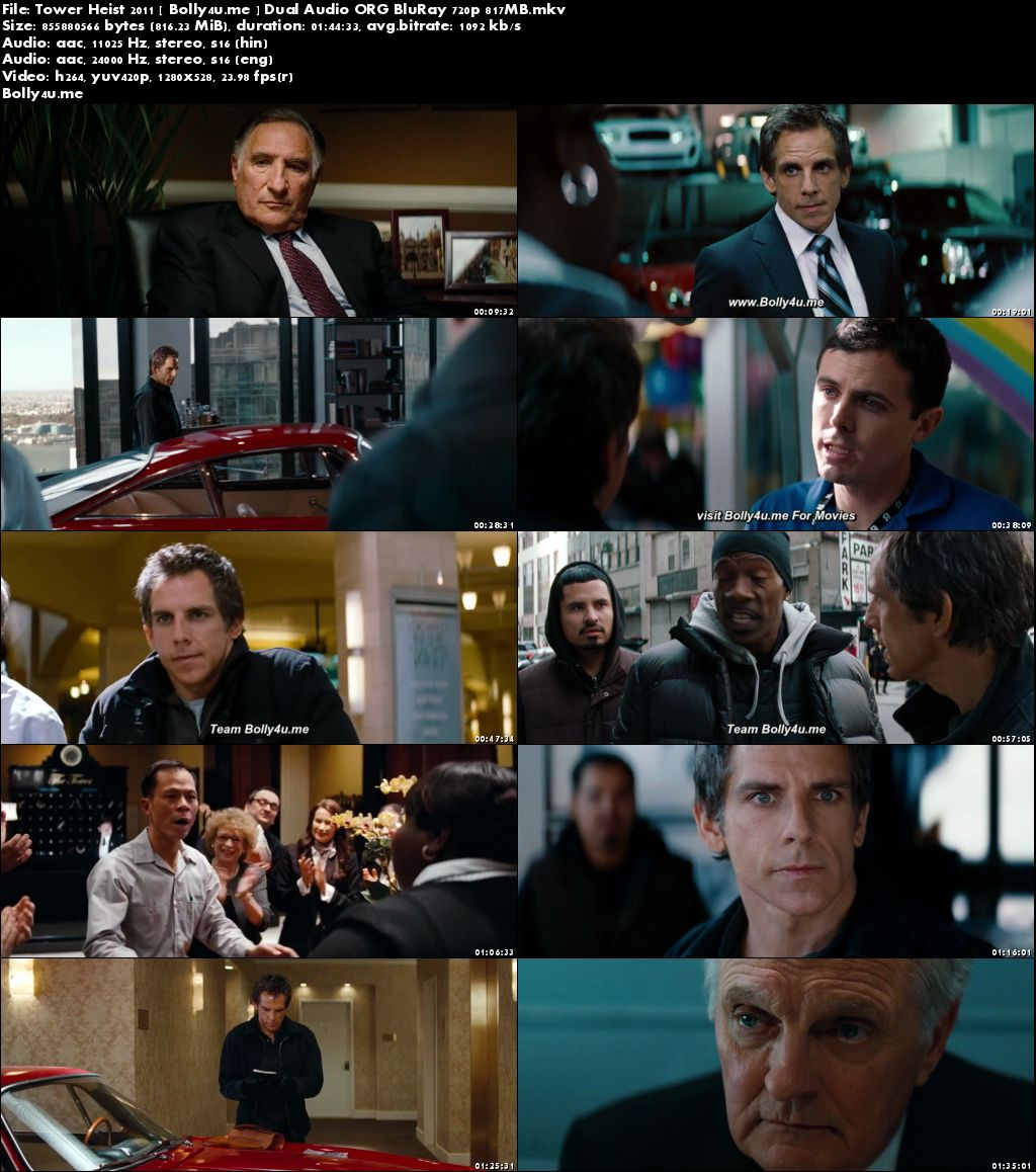 Tower Heist 2011 BluRay 800MB Hindi Dual Audio ORG 720p Download