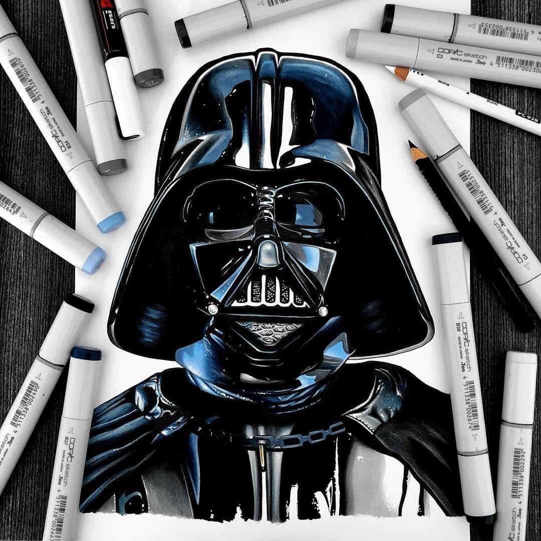 12-Darth-Vader-Star-Wars-Stephen-Ward-Movie-and-Comics-Superheroes-and-Villains-Drawings-www-designstack-co