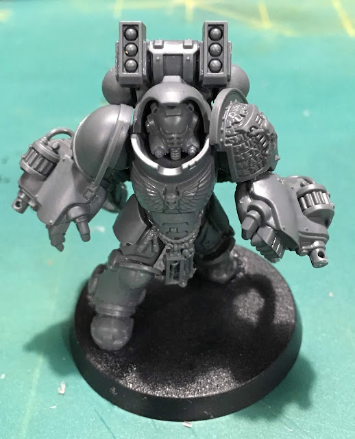 Deathwatch Primaris Aggressor WIP with boltstorm gauntlets