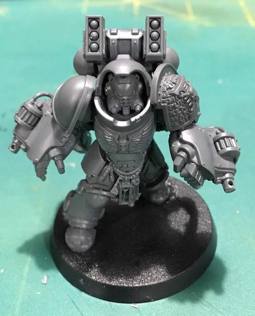 Deathwatch Primaris Aggressor WIP with boltstorm gauntlets
