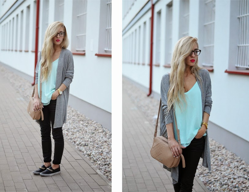 GRAY WATERFALL CARDIGAN, BABY BLUE TOP & SLIP ONS WITH CHAIN