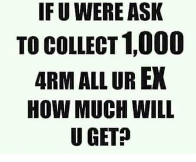 If You Were Asked To Collect N1,000 Each From All Your Ex, How Much Would You Have?