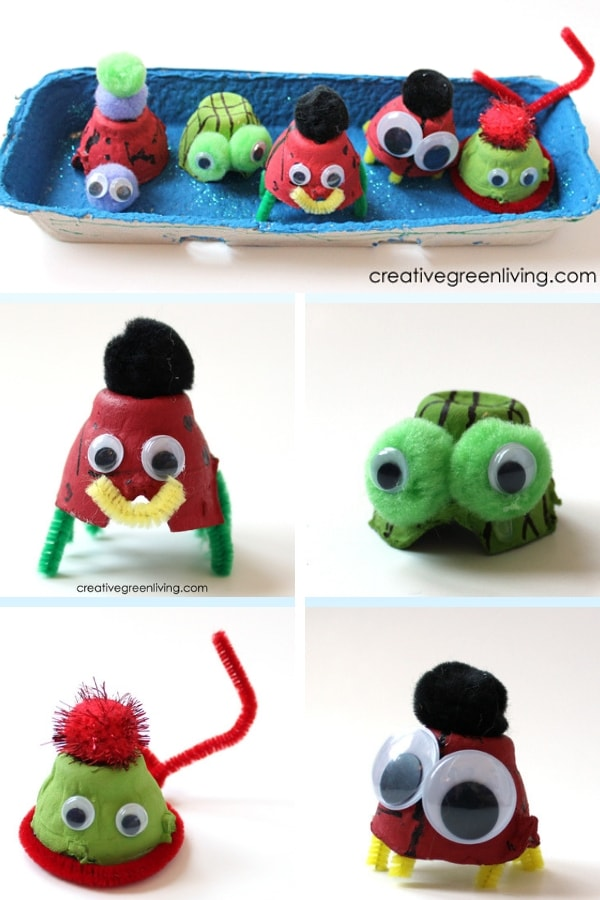 make monsters and sea creatures from recycled egg carton