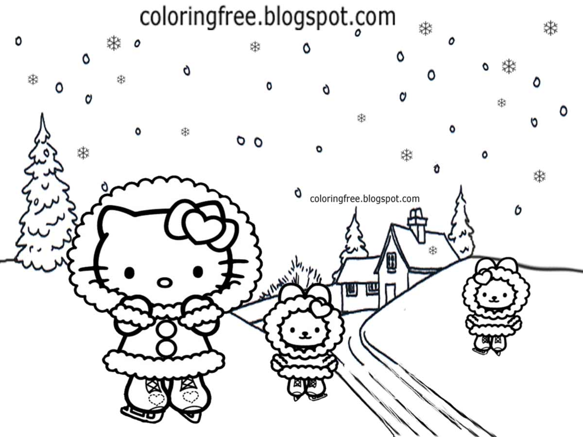 Hello Kitty Ice Skating Coloring Pages