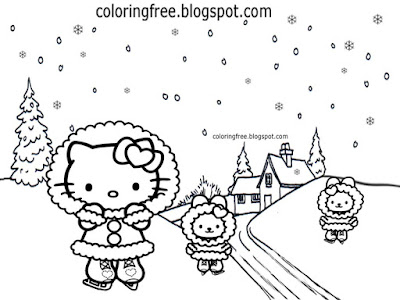 Frozen scenery cold weather winter sport ice skating hello kitty and friends coloring pages for kids