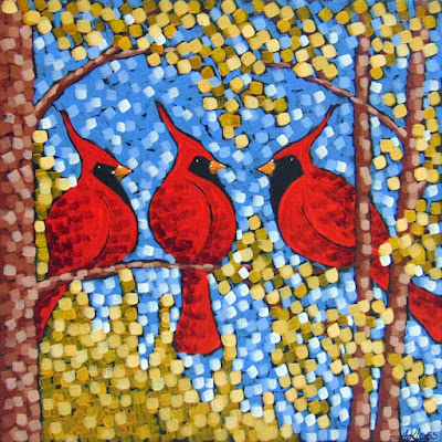 cardinals in gold by aaron kloss, painting of cardinals, red cardinals, autumn gold leaves, birds in autumn