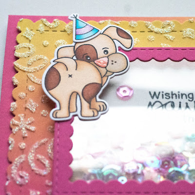 Paw-Some Shaker Birthday Cards by June Guest Designer Amy Tollner | Puppy Playtime Stamp Set, Confetti Stencil, Framework Die Set, and Frames & Flags Die Set by Newton's Nook Designs #newtonsnook #handmade