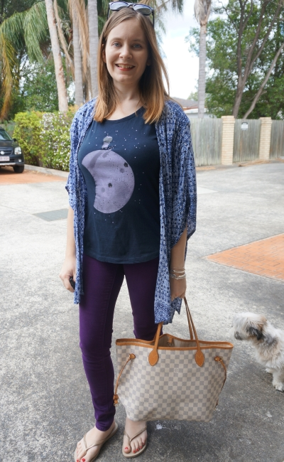 purple skinny jeans, graphic tee, kimono and Louis Vuitton Neverfull | Away From Blue
