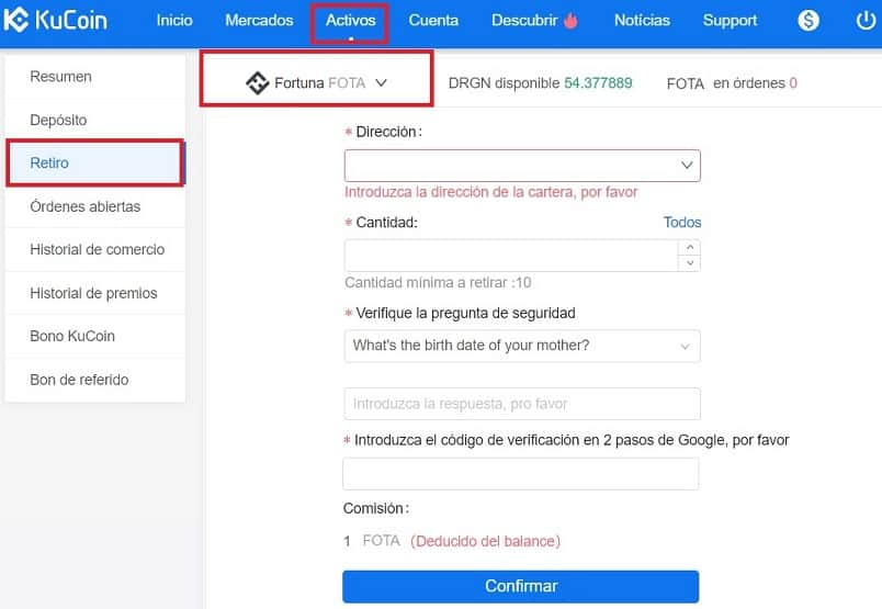 Comprar Fortuna (FOTA) y Guardar en Monedero Tutorial