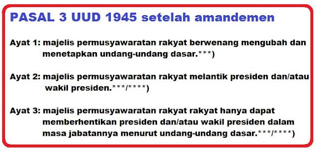 Bunyi pasal 3 ayat 1, 2, 3 UUD 1945 dan Penjelasannya
