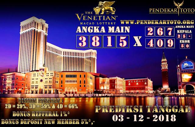 Prediksi Venetian Macao Lottery Tanggal 03 Desember 2018