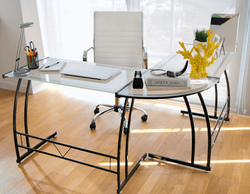 T-shaped glass office desk