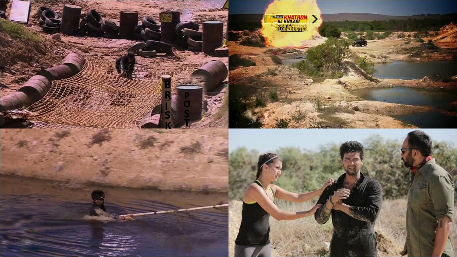 Filmy action packed stunt with fire blasts of bombs and dhamake for Khatron Ke Khiladi contestants Kushal and Gauhar; injured Kushal in still