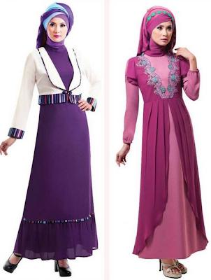 Contoh Busana Gamis Muslim Bahan Brokat Untuk Pesta Pernikahan