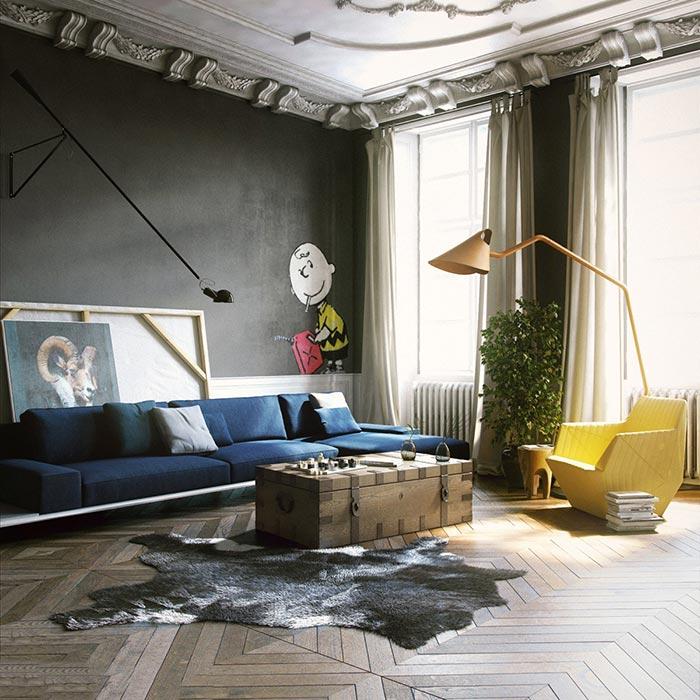 siyah duvarlı elegant oturma odası dekorasyonu