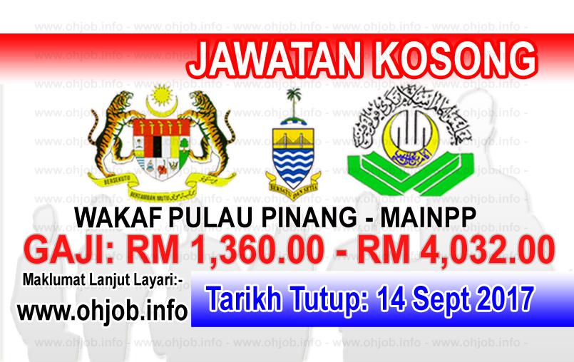 Jawatan Kerja Kosong Wakaf Pulau Pinang - MAINPP logo www.ohjob.info september 2017