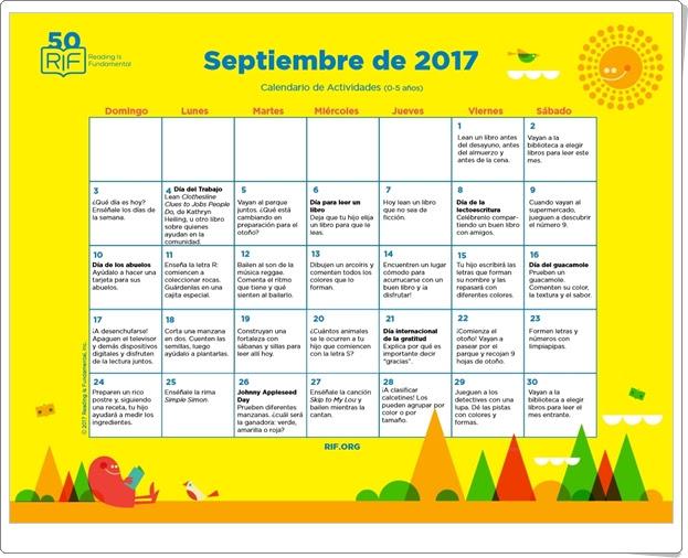 """Calendario de actividades de Septiembre de 2017"" (Multidisciplinar de Educación Infantil)"