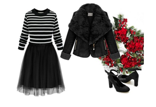 Goth valentines day dress ideas stripes