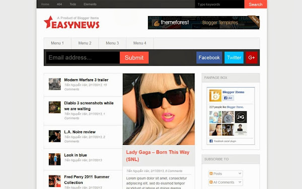 Easy News – Responsive Magazine Blogger Template