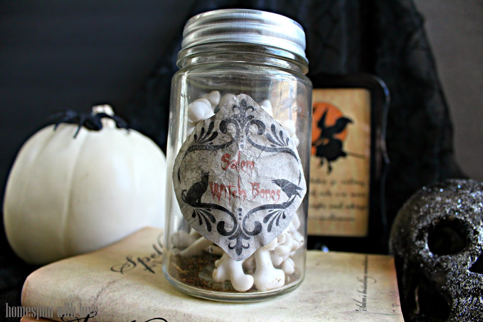 Homespun With Love Salem Witch Bone Jar Decoration