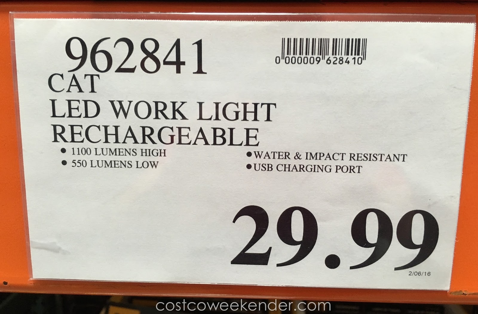 Cat Rechargeable LED Work Light : Costco Weekender