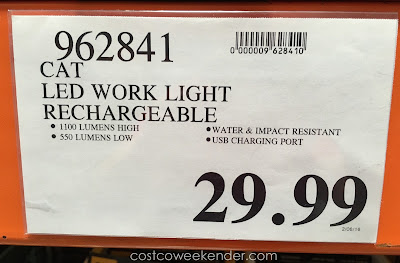 Deal for the Caterpillar Rechargeable LED Work Light at Costco