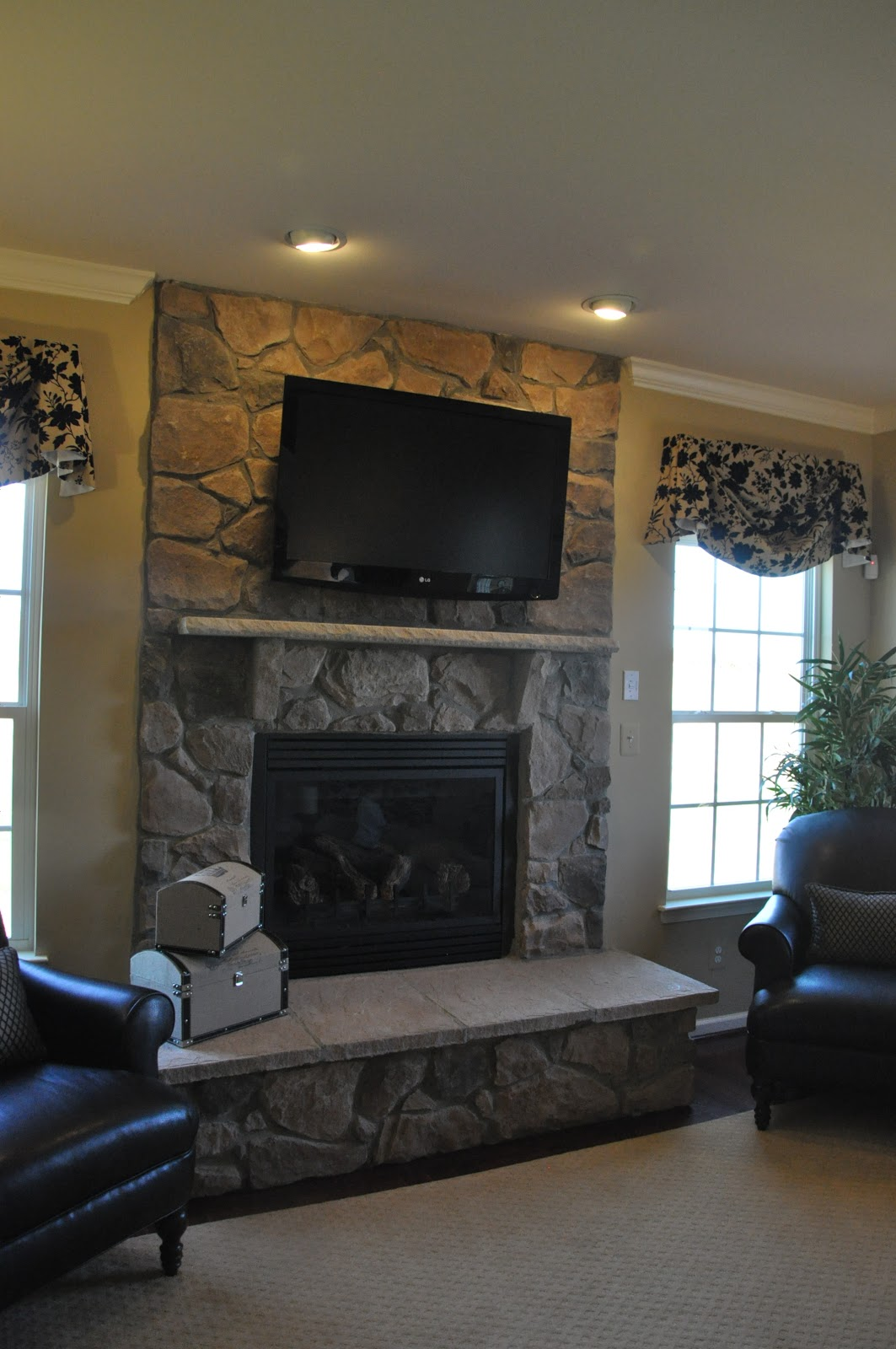 Flagstone Fireplace Building A Ryan Homes Ravenna Tv Over The Fireplace Or Not