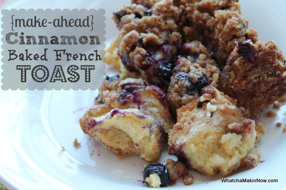 So good! Make this Cinnamon Baked French Toast the night before, pop in the oven in the AM, and delicious breakfast is ready!