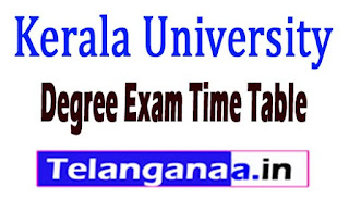 Kerala University Degree Exam Time Table 2017