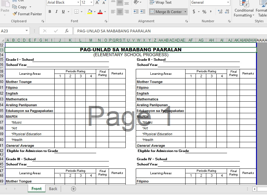 Reconstructed K 12 Form 137 For Elementary Deped Tambayan Ph
